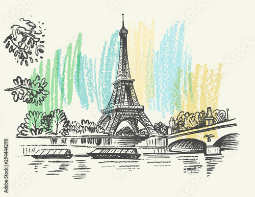 landscape view of the Eiffel Tower Canvas Print