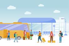 Bus Station Platform Flat Vector Illustration. Public Transport Service. Urban Transportation. Vacation Trip. Intercity Passenger Transportation. Travelers Waiting For Boarding Bus Cartoon Characters