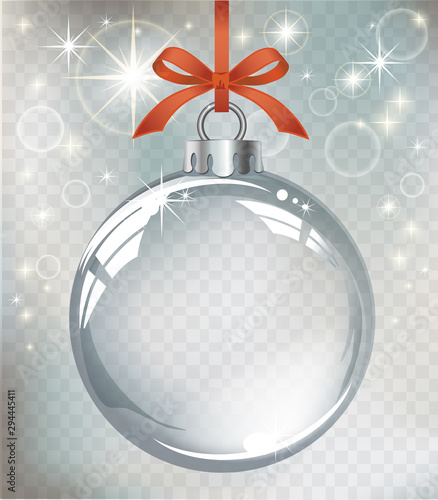 Fototapeta Vector realistic transparent silver Christmas ball on a light abstract background obraz