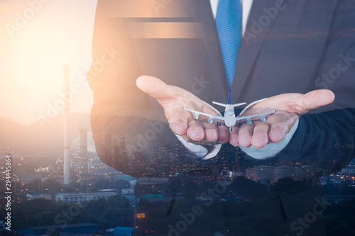 The plane model is surrounded by hands in a protective position Wallpaper Mural
