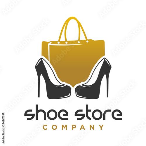 Obraz logo design shoes and women's handbag shop - fototapety do salonu