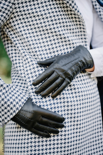black gloves with seams