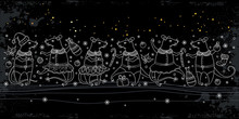 Horizontal Border With Outline White Cute Rat And Winter Decoration On The Black Background.
