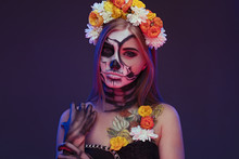 Female Zombie In Flower Wreath