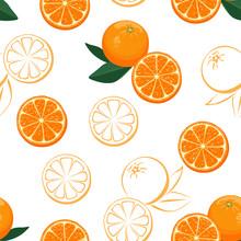 Oranges Fruits Seamless Patter...