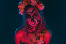 Creepy Woman With Skull Makeup