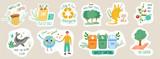 Fototapeta Fototapety na ścianę do pokoju dziecięcego - Set of ecology stickers with slogans. Bundle of decorative design elements. Flat cartoon vector illustration