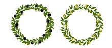 Two Olives Wreath Isolated White Background