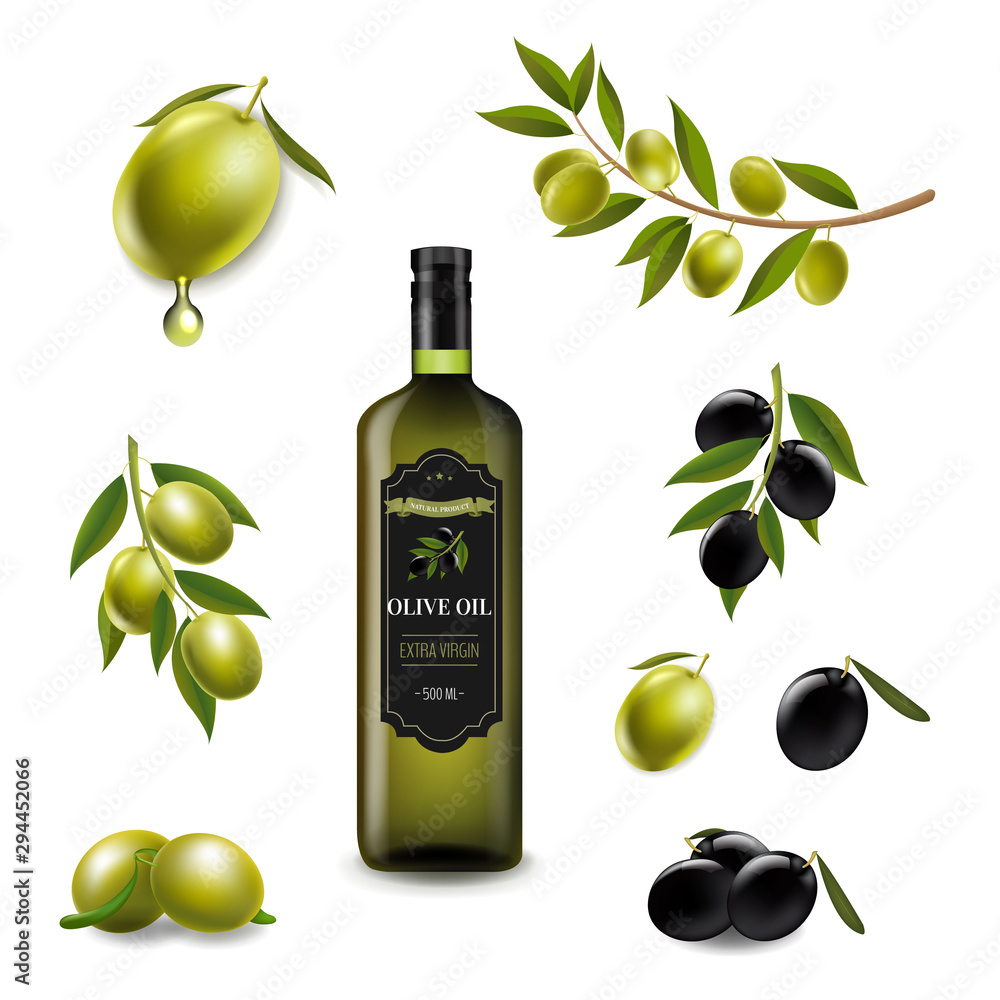 Fototapety, obrazy: Big Set With Branch Olives And With Virgin Olive OilIn Glass Bottle White background