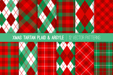 Christmas Tartan Plaid And Argyle Seamless Vector Patterns In Red, Mint And Green. Traditional Winter Holiday Backgrounds. Preppy Textile Fabric Textures. Vector Pattern Tile Swatches Included.
