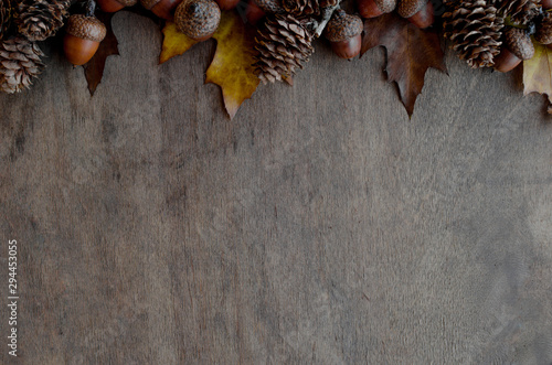 Obraz Great autumn coposition for large space for text or another design on brown wooden surface. - fototapety do salonu