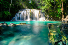 Erawan Waterfall, The Most Beautiful Waterfall In Thailand And Is Popular With Tourists In Chang Chai, Kanchanaburi, Thailand
