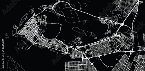 Fotomural Urban vector city map of Abu Dhabi, United Arab Emirates