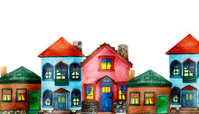 Watercolor Hand Painted Town Composition With Five Different Houses: Brown With Green Roof, Blue With Red Roof And Pink House On The White Background With The Space For Text For Postcards