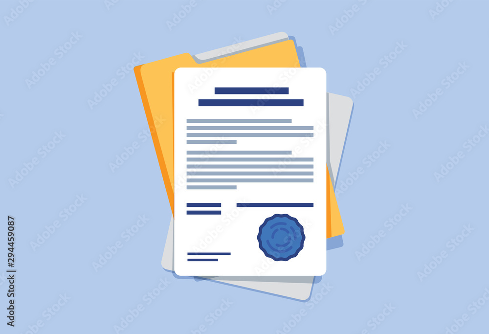 Fototapeta Contract or document signing icon. Document, folder with stamp and text. Contract conditions, research approval