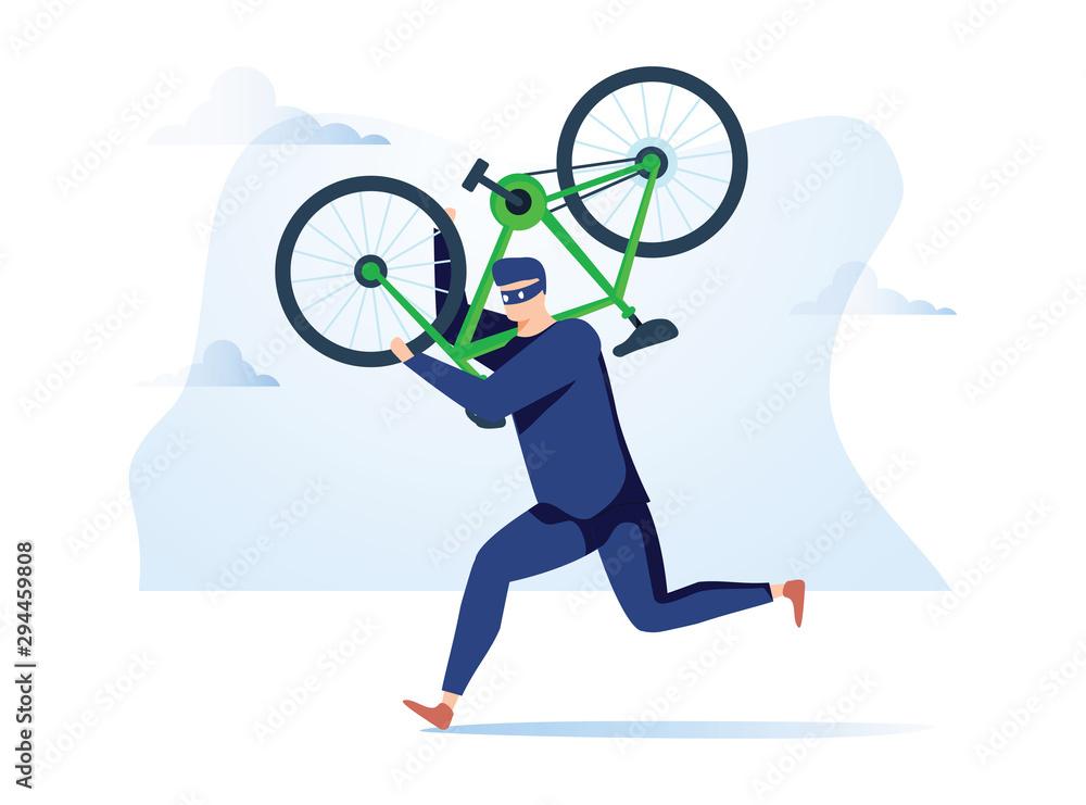Fototapeta Criminal stealing bicycle vector illustration. Caucasian man in black hoodie cartoon character. Bike theft, law break