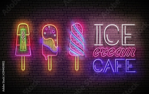 Vintage Glow Poster with Ice Cream Lolly and Inscription Poster Mural XXL