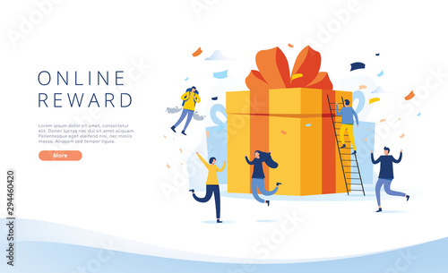 Obraz online reward , Group of happy people receive a gift box vector illustration concept, referral program landing page - fototapety do salonu