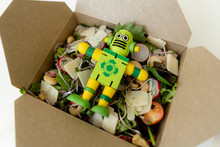 Lunch Box With Mixed Salad And...