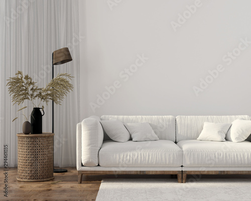 obraz lub plakat Ethnic style living room with white sofa