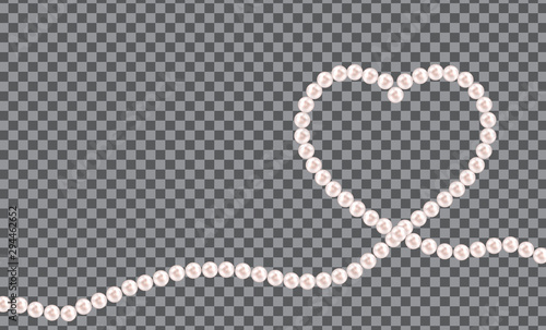 Leinwand Poster Abstract background with natural pearl garlands of beads in heart shape