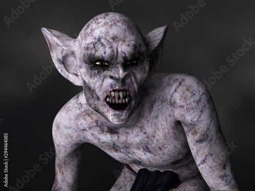 Tableau sur Toile Scary demon creature with big ears and teeth. 3D rendering.