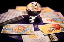 Tarot Cards Spread On A Table ...