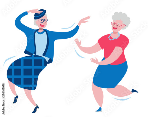 Cheerful grandmothers dance incendiary dance. Wallpaper Mural