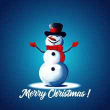 Snowman On A Blue Background....