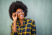 Close Up Young Afro Woman Hold...