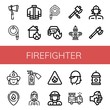 Set of firefighter icons such as Axe, Water hose, Firefighter uniform, House on fire, Car on fire, Hydrant, Firewoman, Firefighter, Fire extinguisher, sign ,