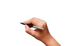 Close-up Female Hand Writing With A Pen, Black Pen In Hand, Isolated On White Background. File Contains With Clipping Path So Easy To Work.