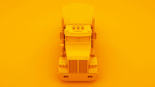 Yellow American Truck Isolated On Yellow Background. 3d Illustration