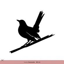 Robin - Bird Silhouette Vector Logo Template Illustration Design. Vector EPS 10.