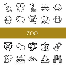 Set Of Zoo Icons Such As Kangaroo, Monkey, Koala, Bison, Giraffe, Elephant, Safari, Hedgehog, Frog, Saber Toothed Tiger, Squirrel, Hippopotamus, Flamingo, Wild Life, Animal , Zoo