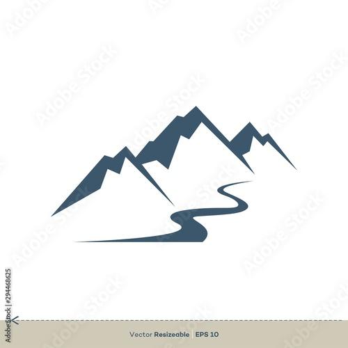 Volcano Mountain Vector Logo Template Illustration Design Fototapete