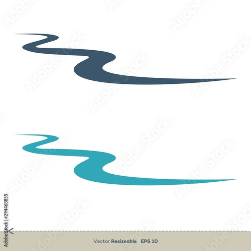 Photo Creek Line Vector Logo Template Illustration Design