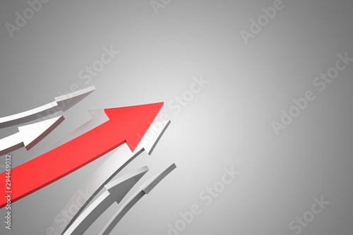Red arrows on blue background Fototapet