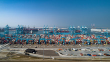 Container Terminal In The Rotterdam Harbor