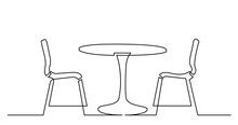 Continuous Line Drawing Of Street Cafe Table With Chairs