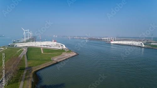 Aerial picture of Maeslantkering storm surge barrier on the Nieuwe Waterweg Neth Slika na platnu