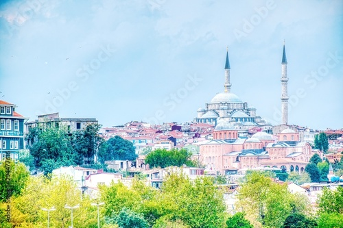 Fotografia  Mosque in Istanbul with minarets