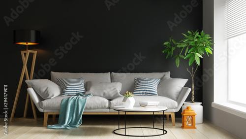 Fotomural  Interior of modern living room 3D rendering