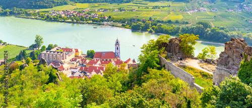 Canvastavla Scenic aerial view of Durnstein Village, Wachau Valley of Danube River, Austria