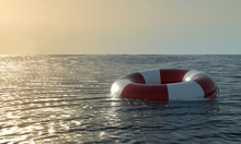 Lifebuoy In Ocean - 3D Render Illustration. Emergency Lifesaver Buoy In Water. Saving Lives - Social Advertising Poster With Copy Space. Lifeguard Equipment With Rope Floating In Sea. Lifeguard Day