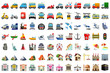 Emoji of different objects and transport set icons pack for apps and social media chat