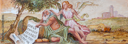 TAORMINA, ITALY - APRIL 9, 2018: The fresco of prophet Elijah church Chiesa di San Guseppe.