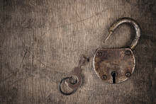 Old Vintage Lock With Key. Anc...