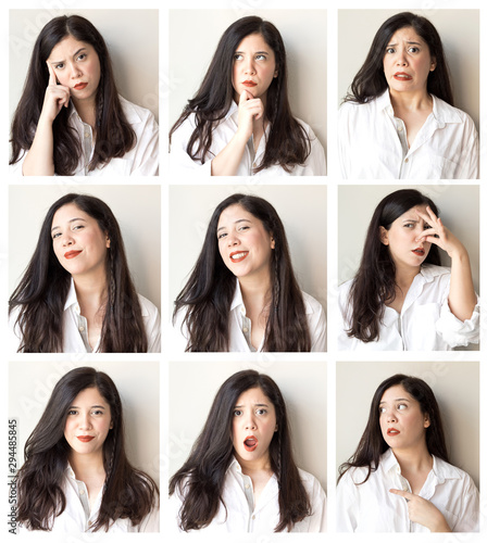Collage of beautiful woman with different facial expressions and gestures isolated on gray background Fototapet