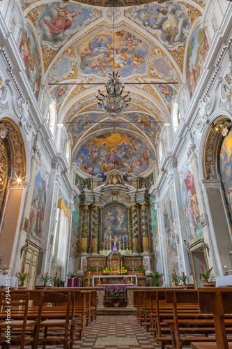 ACIREALE, ITALY - APRIL 11, 2018: The nave of baroque church Chiesa di San Camillo with the frescoes by Pietro Paolo Vasta (1745 - 1750).